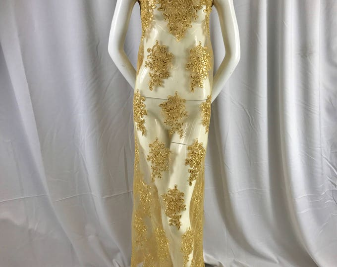 Gold flower lace corded and embroider with sequins on a mesh. Wedding/bridal/prom/nightgown fabric-apparel-fashion-dresses-Sold by the yard.