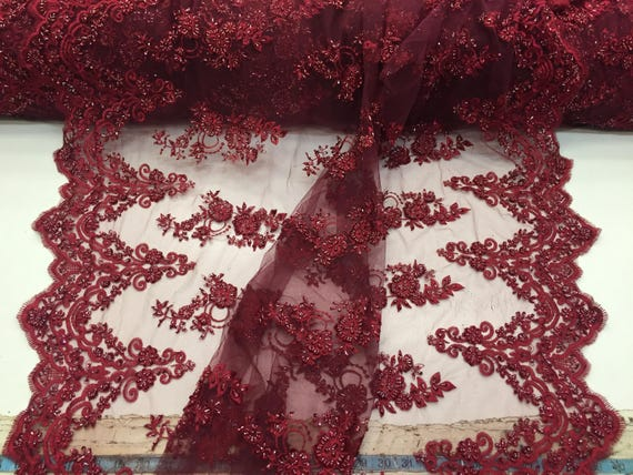 Elegant burgundy hand beaded flower design embroider on a mesh lace-prom-nightgown-bridal-wedding-sold by the yard.