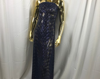 Navy blue imperial design embroidery with shiny sequins on a 4 way stretch mesh-dresses-fashion-prom-nightgown-sold by the yard.