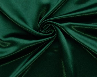 """Hunter Green Crepe Back Satin Bridal Fabric Draper-Prom-wedding-nightgown- Soft 58""""-60"""" Inches Sold by The Yard."""