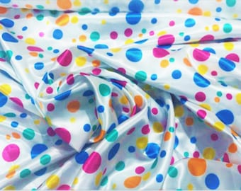 """New Creations Fabric & Foam Inc, 60"""" Wide 100% Polyester Multi Color Polka Dot Soft Charmeuse Satin Fabric"""