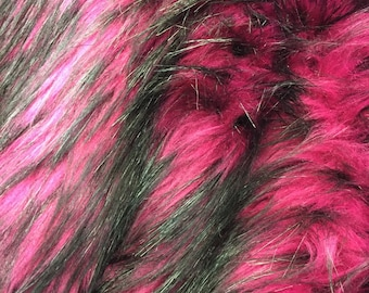 """Magenta/black husky faux fur, 2 tone shaggy faux fur. Sold by the yard.60"""" wide."""