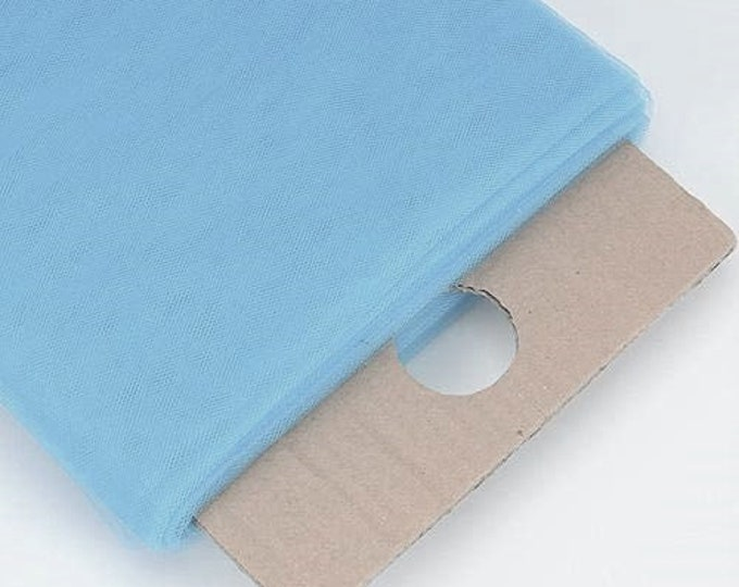 """Light Blue 54"""" Wide by 40 Yards Long (120 Feet) Polyester Tulle Fabric Bolt, for Wedding and Decoration."""