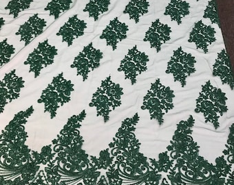 Dark green floral design embroidery on a mesh lace with cord-dresses-fashion-prom-nightgown-sold by the yard-free shipping in the usa-