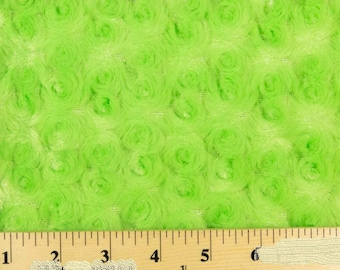 """Lime Green 58"""" Wide Minky Swirl Rose Blossom Ball Rosebud Plush Fur Fabric Polyester Sold By Yard."""