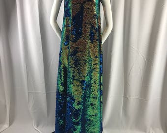 """Reversible mermaid shiny sequins royal blue-salmon 2 way stretch black spandex-54"""" wide-apparel-fashion-dresses-nightgown-sold by the yard-"""