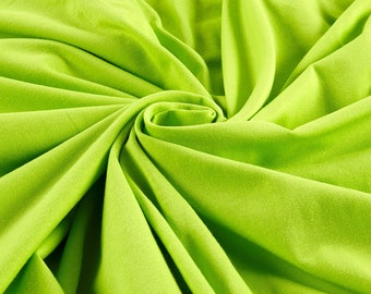 """Lime Green 59/60"""" Wide 100% Polyester Wrinkle Free Stretch Double Knit Scuba Fabric Sold By The Yard."""