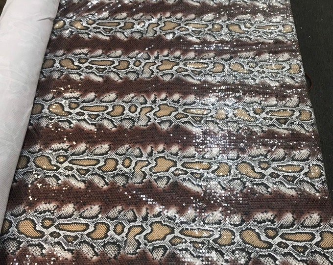 Brown-tan snake design embroidery with clear sequins on a ity spandex-sold by the yard-free shipping in the USA-