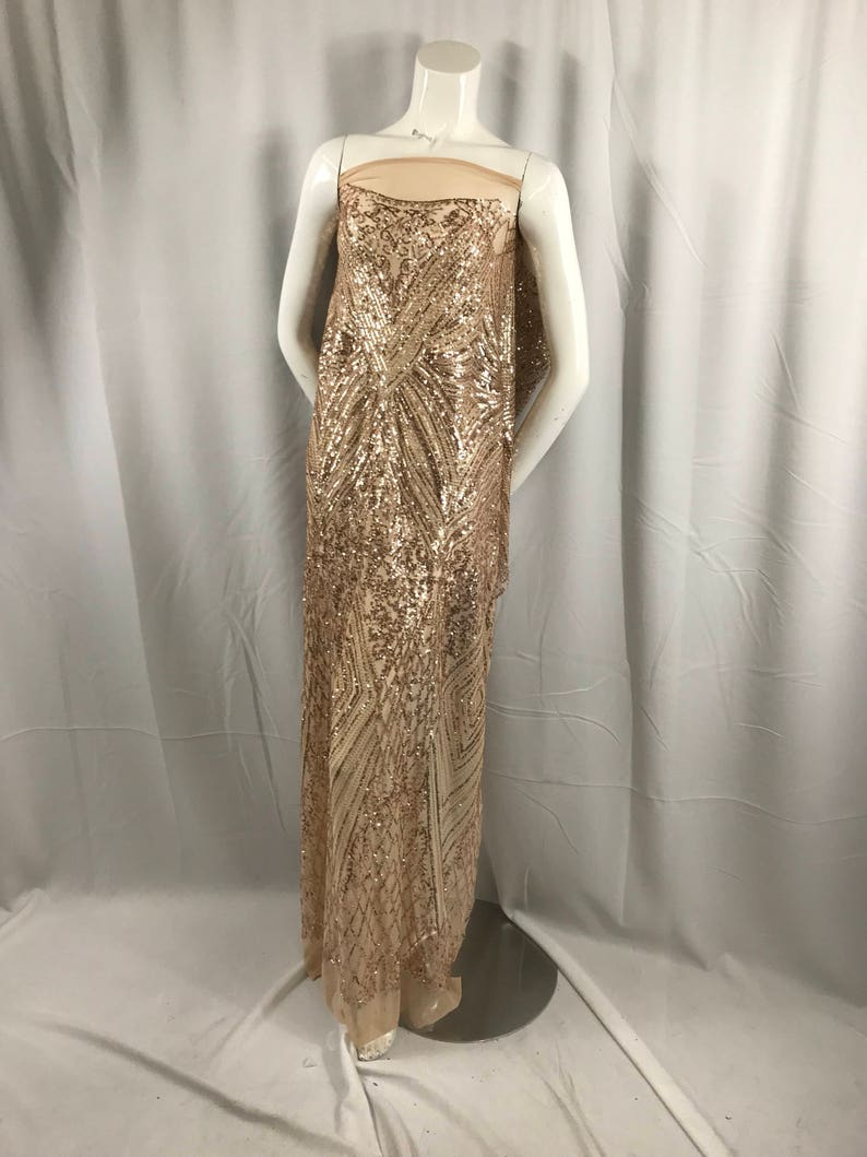 71a4fb36e54 Champagne geometric diamond design embroider with sequins on a