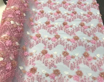 Pink 3d multi color chiffon flowers embroidery with pearls chevron design on a mesh lace-dresses-prom-nightgown-sold by yard-free shipping.