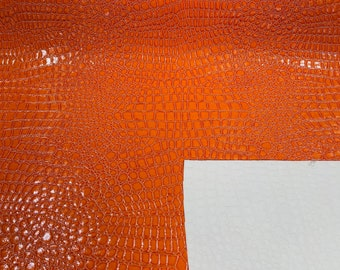 White Crocodile Vinyl Embossed 3D Scales-Faux Leather-Sold By Yard
