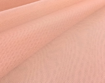 """Blush Pink 58/60"""" Wide Solid Stretch Power Mesh Fabric Nylon Spandex Sold By The Yard."""