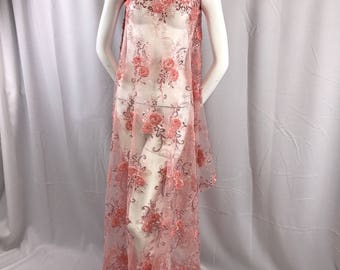 Blush peach 3d ribbon flowers embroider with shiny dusty rose sequins on a mesh lace-dresses-fashion-decorations-prom-sold by yard.