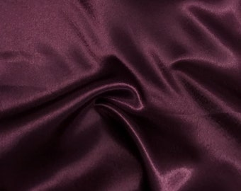 """Plum Crepe Back Satin Bridal Fabric Draper-Prom-wedding-nightgown- Soft 58""""-60"""" Inches Sold by The Yard."""