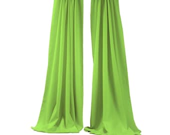 Lime Green 2 Panels Backdrop Drape, All Sizes Available in Polyester Poplin, Party Supplies Curtains.