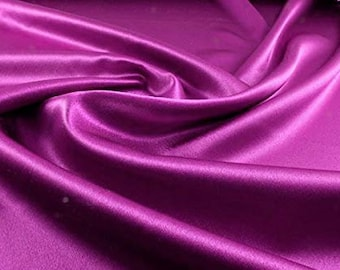 """Magenta Light Weight Charmeuse Satin Fabric for Wedding Dress 60"""" inches wide sold by The Yard."""