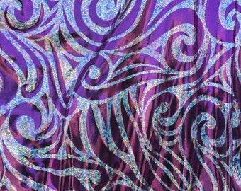 Lavender psychedelic hikogram design 2 way stretch spandex - yard