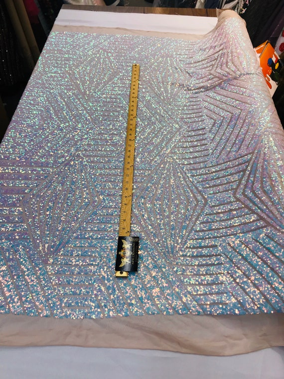 Aqua iridescent sequin geometric diamond design on a 4 way stretch nude mesh fabric-prom-nightgown-sold by the yard-free shipping in the USA