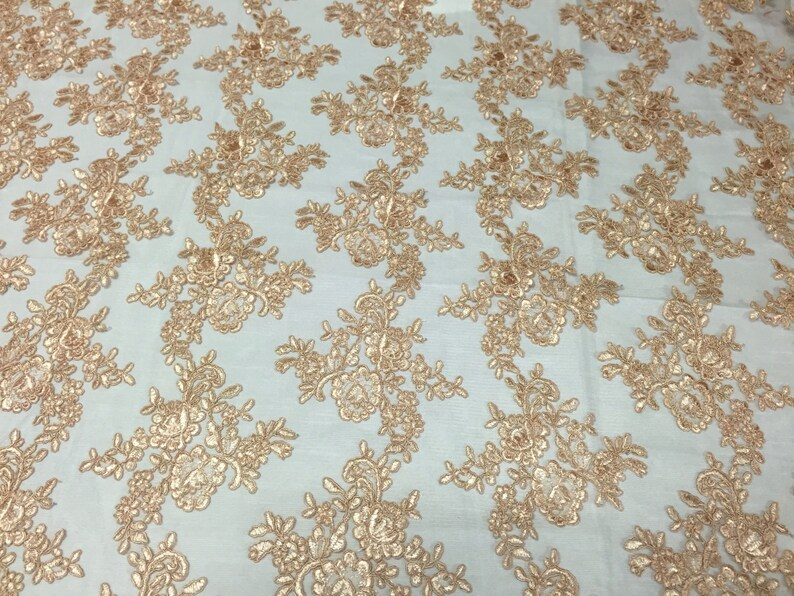 Champagne modern roses embroider on a mesh lace yard