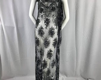 Black floral design embroider with sequins and metallic tread on a mesh lace-prom-dresses-fashion-apparel-nightgown-decorations-sold by yard