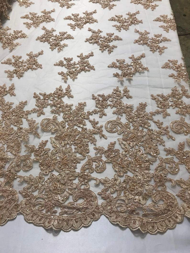 CHAMPAGNE Beaded Lace Fabric Elegant Embroided Pattern on Mesh By The Yard