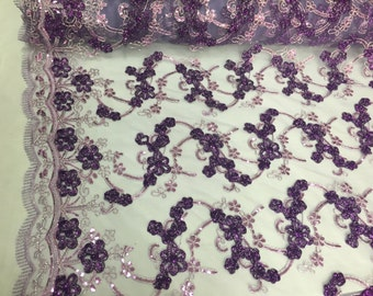 Lilac/purple 3d flowers ribbon embroider with a metallic tread on a mesh lace fabric-wedding-beidal-prom-nightgown fabric-sold by the yard.
