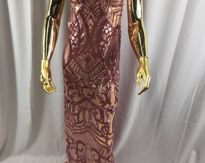 Dusty rose royalty design embroider with shiny sequins on a 4 way stretch power mesh-dresses-prom-nightgown-fashion-sold by the yard.