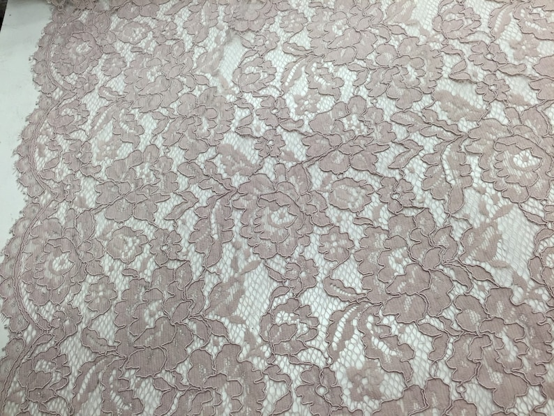 WeddingBridalNightgownsProm-sold by the yard. Mauve vintage corded french lace embroider on a antique mesh