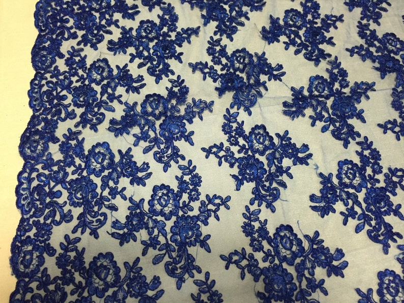 yard Royal blue modern roses embroider and corded on a mesh lace