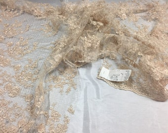 Sensational cream flowers Embroider And Corded on a Polkadot Mesh Lace-prom-nightgown-decorations-dresses-sold by the yard.
