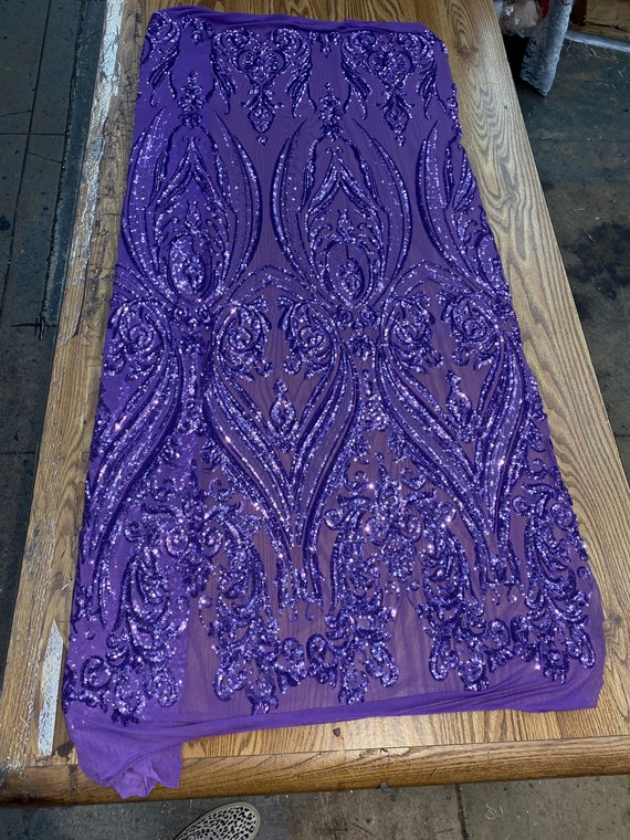 """Dark lavender damask  sequin design on a 4 way stretch mesh-48""""-50""""-prom-nightgown-sold by the yard."""