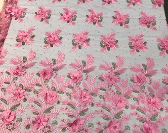 Pink 3d floral design embroidery with pearls and rhinestones with metallic tread on a mesh lace-dresses-fashion-prom-nightgown-sold by yard.