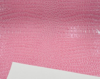 Pink Crocodile Vinyl Embossed 3D Scales-Faux Leather-Sold By Yard