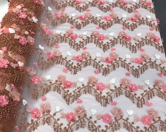 Rust 3d multi color chiffon flowers embroidery with pearls chevron design on a mesh lace-dresses-prom-nightgown-sold by yard-free shipping.