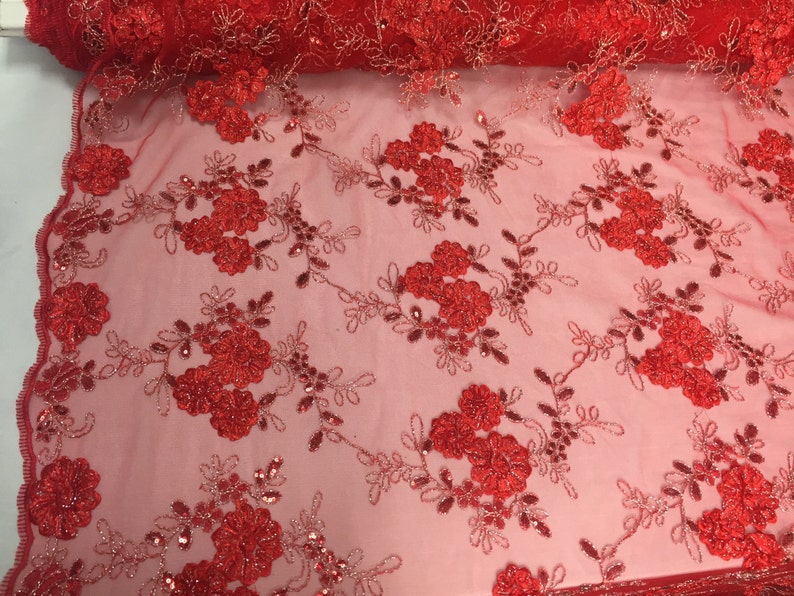 Pink Flowers Embroider On A Mesh Lace.wedding-bridal-prom-nightgown Fabric-yard.
