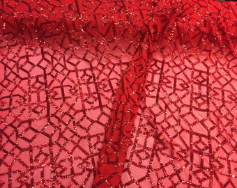 Red geometric sequins design embroider on a  2 way mesh-prom-nightgown-decorations-sold by the yard.