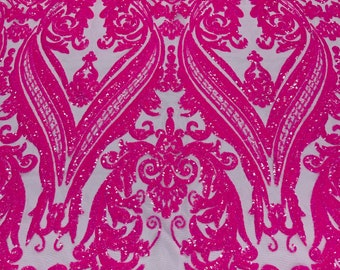 Neon Pink iridescent shiny sequin damask design on a 4 way stretch mesh-sold by the yard.