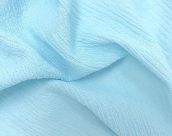"""Light Blue Cotton Gauze Fabric 100% Cotton 48/50"""" inches Wide Crinkled Lightweight Sold by The Yard."""