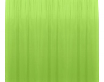 Lime Green SEAMLESS Backdrop Drape Panel, All Sizes Available in Polyester Poplin, Party Supplies Curtains.