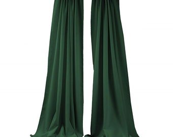 Hunter Green 2 Panels Backdrop Drape, All Sizes Available in Polyester Poplin, Party Supplies Curtains.