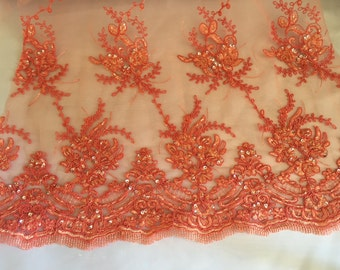 Dark coral marvy flower design embroider with glass beads and sequins on a mesh lace-prom-nightgown-decorations-sold by the yard.