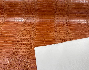 """Cognac 53/54"""" Wide Gator Fake Leather Upholstery, 3-D Crocodile Skin Texture Faux Leather PVC Vinyl Fabric Sold By The Yard."""