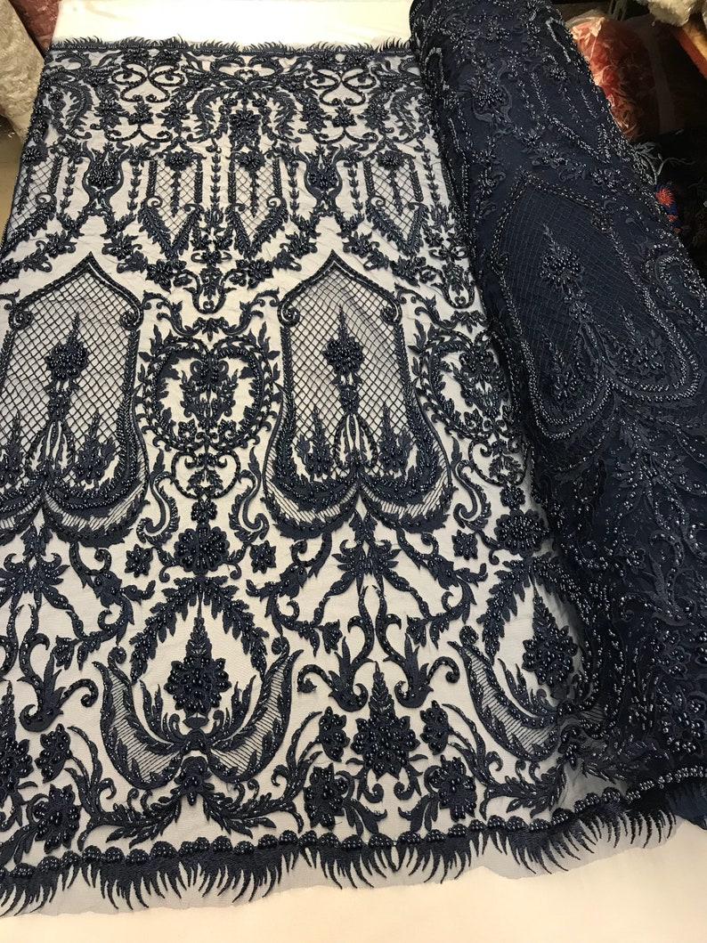 Navy blue diva design embroidery with heavy beaded on a mesh lace-dresses-fashion-apparel-prom-nightgown-sold by the yard.