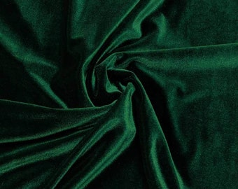 """Hunter Green 60"""" Wide 90% Polyester 10 present Spandex Stretch Velvet Fabric for Sewing Apparel Costumes Craft, Sold By The Yard."""