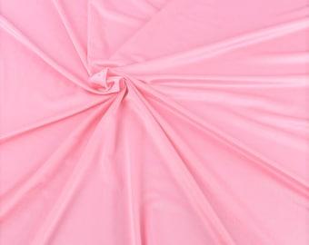 "Light Pink Shiny Milliskin Nylon Spandex Fabric 4 Way Stretch 58"" Wide Sold by The Yard"