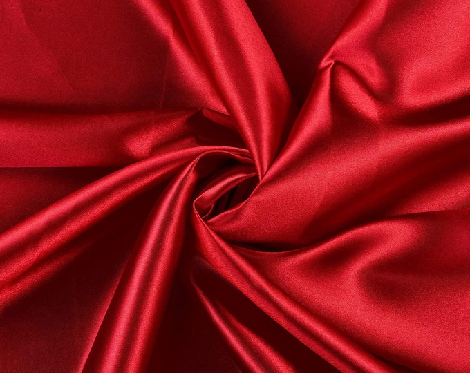 """Dark Red Heavy Shiny Bridal Satin Fabric for Wedding Dress, 60"""" inches wide sold by The Yard."""