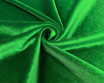 """Kelly Green 60"""" Wide 90% Polyester 10 present Spandex Stretch Velvet Fabric for Sewing Apparel Costumes Craft, Sold By The Yard."""