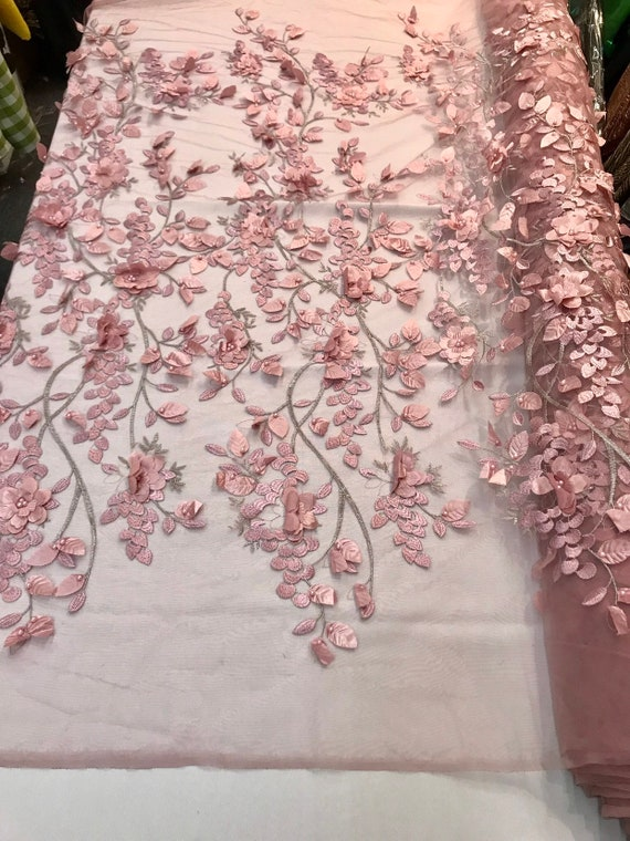 Dusty rose 3d floral design embroidery with pearls & metallic tread on a mesh lace-prom-nightgown-sold by the yard-free shipping in the USA.
