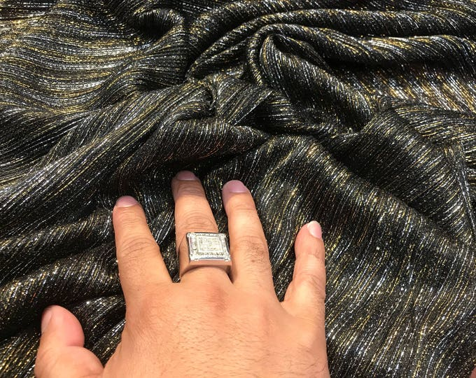 Black-silver-gold pleated metallic knitted sheer fabric-dresses-fashion-apparel-prom-nightgown-decorations-sold by the yard