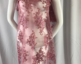 Dusty rose classy paisley flowers embroider on a mesh lace-dresses-fashion-decorations-nightgown-apparel-sold by the yard.